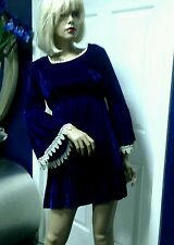 Vintage 60's Mini Dress Baby Doll  Mod / GoGo Blue Velvet Small