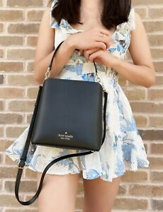 Kate Spade New York Darcy Small Bucket Bag Crossbody Black Leather