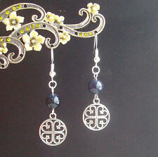 Blue Goldstone Medieval Celtic Window Cross Dangly Earrings