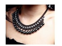 Women's Vintage Black Balls Crystal Collar Statement Choker Necklace Gift UK