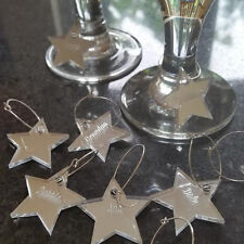 PERSONALISED ENGRAVED STAR NAME WINE GLASS CHARMS CHRISTMAS TABLE DECORATION- 21