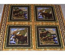4 Moose Wild Frontier Pillow Panels Fabric cotton
