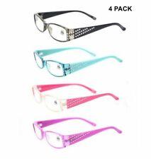 4 PACK Womens Reading Glasses Rectangle Readers +1.0 1.5 2.0 2.5 3.0 3.5 G44