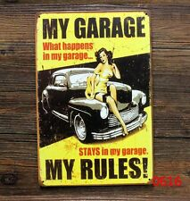 Tin Sign Vintage Retro Metal Home Bar Pub Wall Decor Poster My Garage My Rules