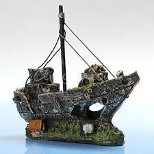 Aquarium Ornament Wreck Sunk Ship Sailing Boat Destroyer Fish Tank Cave Decor