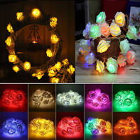 20-LED Rose Flower Fairy Christmas Wedding Party Garden Decor Xmas String Lights