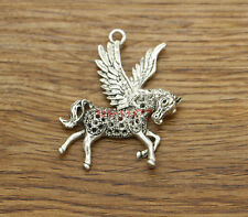 5 Fly Flying Horse Pendants Charms Pegasus Charms Antique Silver 42x53 1327