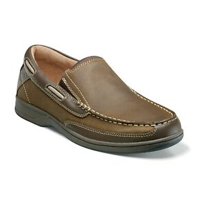 Mens Florsheim Lakeside Slip On Boat Shoe Saddle Stone Leather 13158-275 new