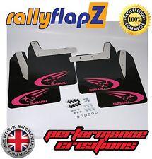 Mudflaps SUBARU IMPREZA New Age (01-07)rallyflapZ 4mm PVC Black Swoosh in Pink