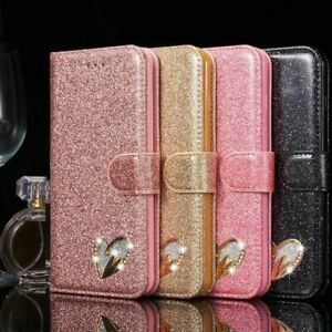 Fashion Leather Bling Glitter Heart Sign Wallet Book Case Cover For Mobile Phone