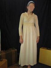 Wedding Prom maxi Boho 60's Dress Empire Style  Ivory heavy crochet lace trim