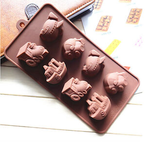 Silicone Train Ship Car Plane Chocolate Cake Cookie Mould Baking Ice Cube Jelly