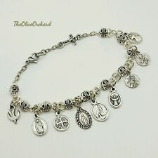 Handmade Silver Plated Carved Beads Select Holy Images Inline Rosary Bracelet