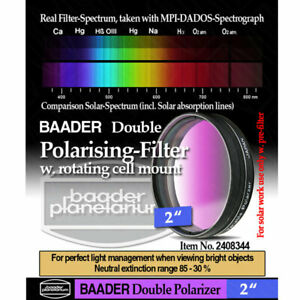 """Baader 2"""" Double Polarization Filter with Rotating Filter Cell # FPOL-2D 2408344"""