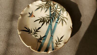 Vintage Handpainted Trinket Porcelain Plate. Bird and Bamboo. 3.75""