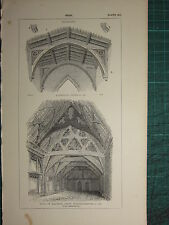 1845 ANTIQUE ARCHITECTURE PRINT ~ ROOF SPARSHOLT ~ MALVERN ABBEY HALL