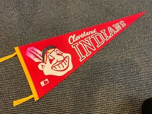 1969 CLEVELAND INDIANS RARE RED FULL SIZE PENNANT NM CONDITION
