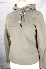 Ralph Lauren Hoodie Sweatshirt Cotton Womens Small Metal Clasps Green/Tan