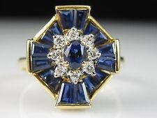 18K Sapphire Diamond Ring Estate Yellow Gold Blue Baguette Ballerina Size 8.25