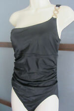 Lands End Swimsuit Bathing Suit Slimming Gathering sz 8 Black One Shouder Petite