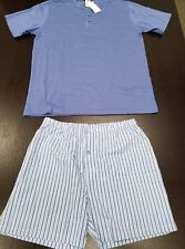 Frette Short Men's Pajamas, 2-pc, Blue (Shirt w/ Boxer Shorts)