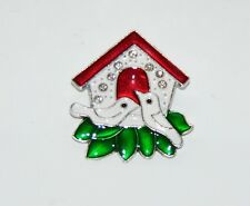 Turtle Doves Sleigh Pin/Brooch Silver Tone Crystal Design