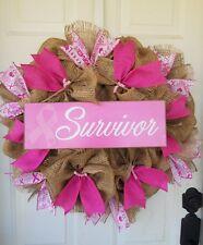 22 INCH SURVIOR  CANCER RIBBON  PRIMITIVE  BURLAP WREATH PINK SUMMER