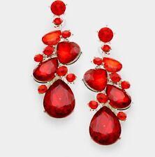 """2.25"""" Long Drop Red Silver Dangle Rhinestone Crystal Teardrop Pageant Earrings"""