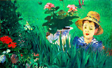 Boy in Flowers A1 by Edouard Manet High Quality Canvas Art Print
