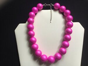Women's Chunky Hot Pink Soft Sheen Bead Choker Necklace