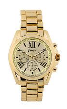 Wholesale Twelve  Geneva Yellow Gold Tone Classic Men's Watch.
