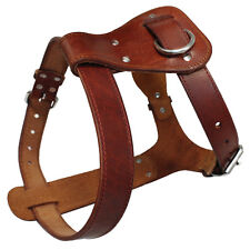 Brown Genuine Leather Dog Harness Durable No Pull for Medium Large Dogs Bullldog
