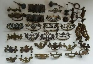 LOT 18th 19th Brasses Drawer Pulls Key Escutcheons Brass Colonial Chippendale