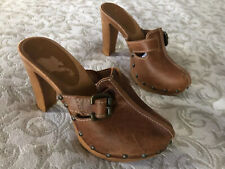 ❤️ Sexy Brown Beige Real Leather Buckle Wood High Heels Clogs Mules UK4 EU37