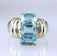 Emerald Cut Blue Topaz Triple Stone Ring 925 SS Sterling Silver 3.75 Carats