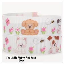 "✂1m grosgrain 7/8""(22mm) PUPPY DOGS WITH FLOWERS AND BUTTERFLIES printed ribbon"