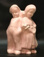 Vintage USA pottery Pink boy and girl Ceramic planter