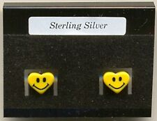 Heart Yellow Smiley Face Sterling Silver 925 Studs Earrings Carded