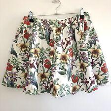 Valleygirl Women's Size 8 Skirt White Floral Cotton/Polyester/Spandex
