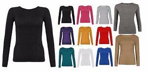 New Ladies Women Long Sleeve Round Neck Plain Stretch TShirt Top Basic Vest 8-26
