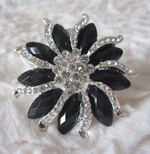 "2.2"" FACETED BLACK  SEGMENT FLOWER & CLEAR RHINESTONE CRYSTAL BROOCH"