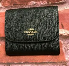 NWT Coach F87588 Women Tri-fold Small Crossgrain Leather Wallet Black