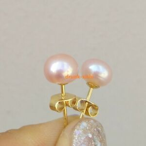 Timeless AAA+ Akoya 7-8mm Pink Pearl Stud Earrings 14k Gold P At Daily Classic