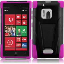 HR Wireless Nokia Lumia 928 T-Stand Cover - Retail Packaging - Black/Hot Pink