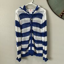 Quacker Factory Medium Striped Blue White Mesh Hoodie Sweater Zip Up Nautical