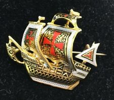 Vintage Damascene Tall Ship Brooch Pin Spanish Red Maltese crosses Galleon Boat