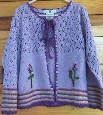 Deux par Deux Open Sweater Cardigan Girls Lilac Eyelet Size 5