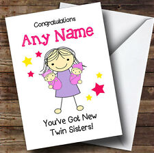 Big Sister Congratulations New Baby Twin Girls Personalised Sibling Card