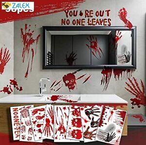 Halloween Decorations Window Clings Stickers, 98 pcs Bloody Handprint Footprint