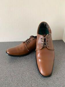 Mens Dress shoes - British Tan Matte finish square toe oxford style - most sizes